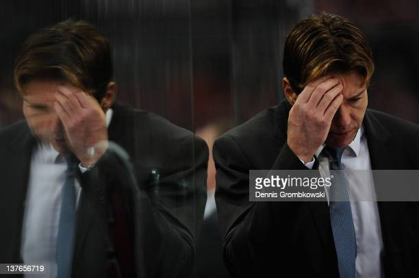Head coach Uwe Krupp of Cologne reacts during the DEL match between Koelner Haie and Adler Mannheim at Lanxess Arena on January 24 2012 in Cologne...