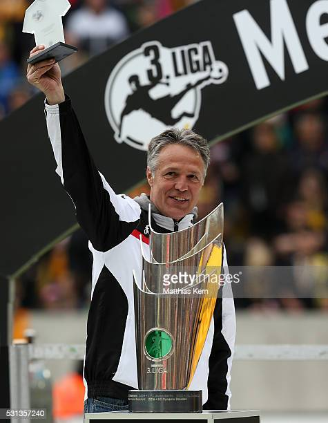 Head coach Uwe Neuhaus of Dresden looks on after he was honored as coach of the season 2015/2016 after the third league match between SG Dynamo...