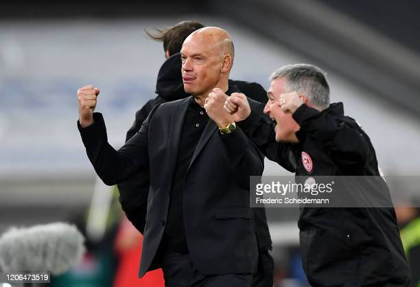 Head coach Uwe Roessler of Duesseldorf celebrates after his team's first goal during the Bundesliga match between Fortuna Duesseldorf and Borussia...
