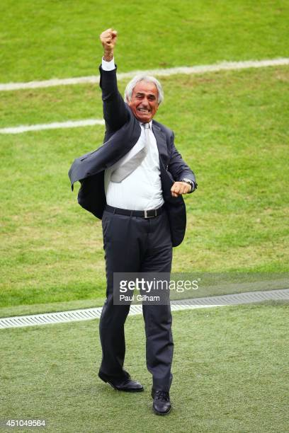 Head coach Vahid Halilhodzic of Algeria celebrates after the third goal during the 2014 FIFA World Cup Brazil Group H match between South Korea and...
