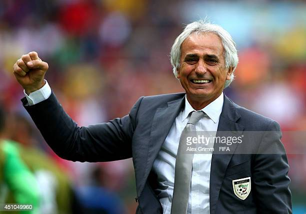 Head coach Vahid Halilhodzic of Algeria celebrates his team's second goal during the 2014 FIFA World Cup Brazil Group H match between Korea Republic...