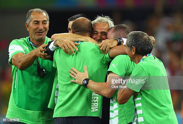 Head coach Vahid Halilhodzic of Algeria hugs his staff after a 11 draw during the 2014 FIFA World Cup Brazil Group H match between Algeria and Russia...