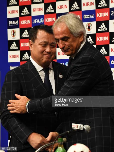 Head coach Vahid Halilhodzic of Japan and JFA president Kozo Tashima attend a press conference a day after Japan's qualification for the FIFA World...