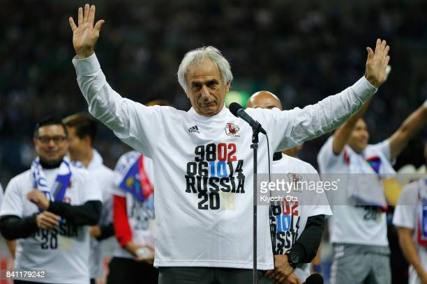 Head coach Vahid Halilhodzic of Japan applauds supporters after his team's 20 victory and qualified for the FIFA World Cup Russia after the FIFA...
