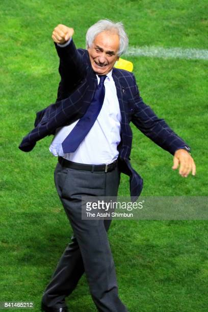 Head coach Vahid Halilhodzic of Japan celebrates his side's second goal during the FIFA World Cup Qualifier match between Japan and Australia at...