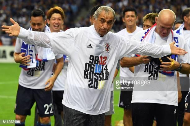 Head coach Vahid Halilhodzic of Japan looks on after the FIFA World Cup Qualifier match between Japan and Australia at Saitama Stadium on August 31...