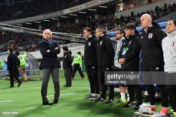Head coach Vahid Halilhodzic of Japan looks on prior to the EAFF E1 Men's Football Championship between Japan and South Korea at Ajinomoto Stadium on...