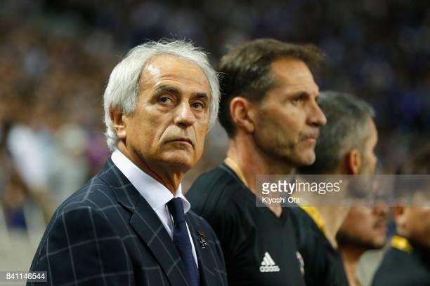 Head coach Vahid Halilhodzic of Japan looks on prior to the FIFA World Cup Qualifier match between Japan and Australia at Saitama Stadium on August...