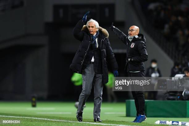 Head coach Vahid Halilhodzic of Japan reacts during the EAFF E1 Men's Football Championship between Japan and China at Ajinomoto Stadium on December...