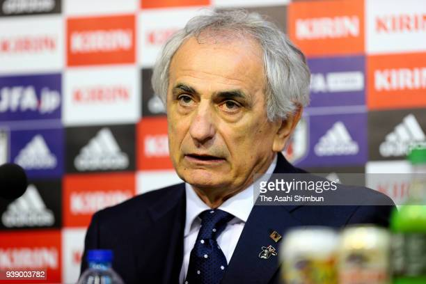 Head coach Vahid Halilhodzic of Japan speaks during a press conference after the International friendly match between Japan and Ukraine held at Stade...