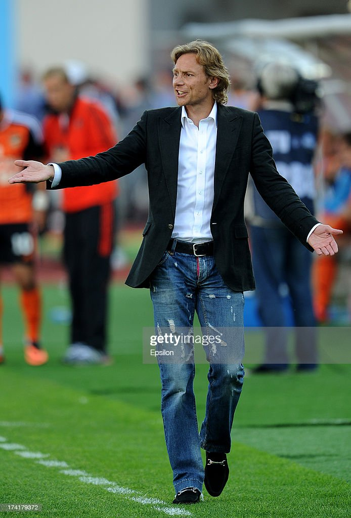 Head coach Valeri Karpin of FC Spartak Moscow gestures during the Russian Premier League match betweenn FC Ural Sverdlovsk Oblast and FC Spartak Moscow at the Tcentralny Stadium on July 21, 2013 in Ekaterinburg, Russia.