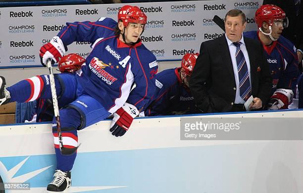 Head coach Valerii Belousov and Ravil Gusmanov of Metallurg Magnitogorsk during the IIHF Champions Hockey League match between Metallurg Magnitog and...