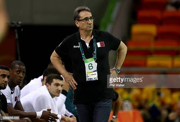 Head coach Valero Rivera of Qatar reacts during the Men's Preliminary Group A match between Croatia and Qatar on Day 2 of the Rio 2016 Olympic G