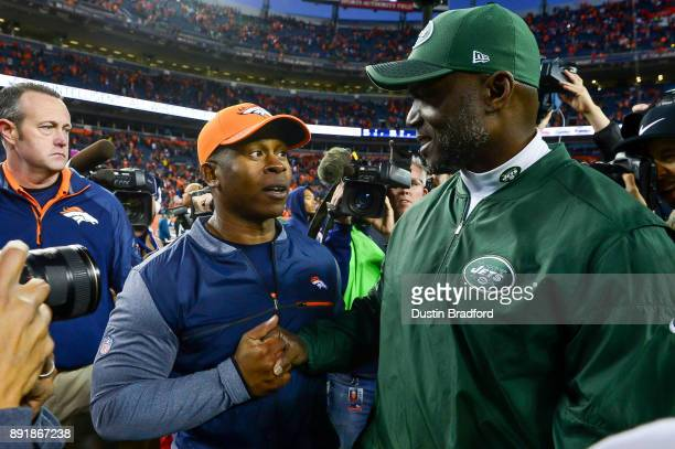 Head coach Vance Joseph of the Denver Broncos and head coach Todd Bowles of the New York Jets shake hands after the Denver Broncos 230 win over the...