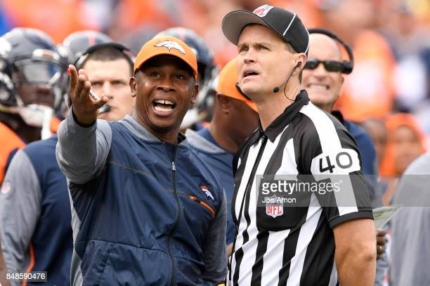 Head coach Vance Joseph of the Denver Broncos argues a fumble during the second quarter on Sunday September 17 2017 The Denver Broncos hosted the...