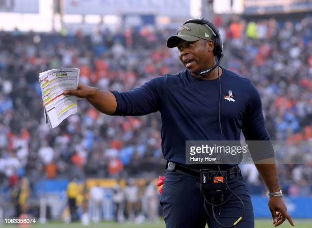 Head coach Vance Joseph of the Denver Broncos argues with the officials after a last second field goal was called back due to a Los Angeles Chargers...