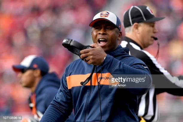 Head coach Vance Joseph of the Denver Broncos as the Denver Broncos take on the San Francisco 49er's at Levi's Stadium December 9 2018 in Santa Clara...