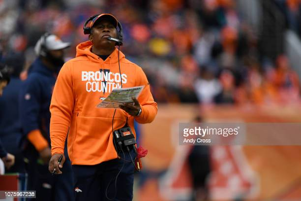 Head coach Vance Joseph of the Denver Broncos during the first quarter against the Los Angeles Chargers The Denver Broncos hosted the Los Angeles...
