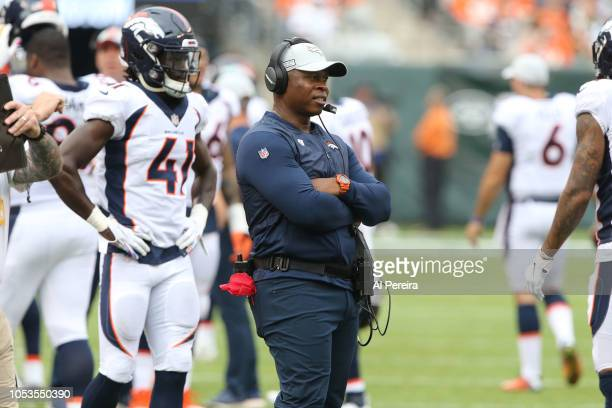 Head Coach Vance Joseph of the Denver Broncos in action against the New York Jets on October 7 2018 at MetLife Stadium in East Rutherford NJ