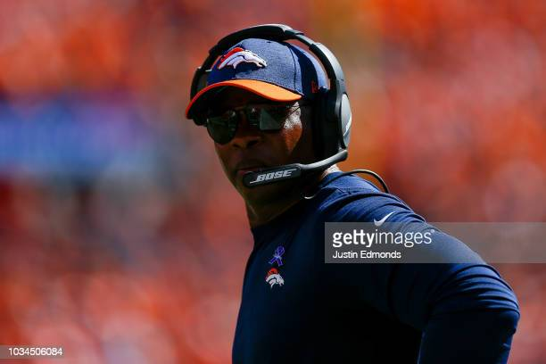 Head coach Vance Joseph of the Denver Broncos looks down the sideline during a game against the Oakland Raiders at Broncos Stadium at Mile High on...