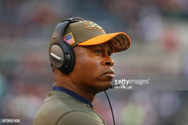Head coach Vance Joseph of the Denver Broncos looks on against the against the Philadelphia Eagles during the fourth quarter at Lincoln Financial...