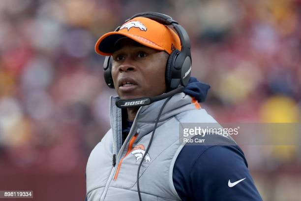 Head coach Vance Joseph of the Denver Broncos looks on against the Washington Redskins in the second half at FedExField on December 24 2017 in...