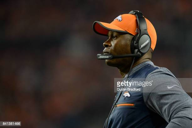 Head coach Vance Joseph of the Denver Broncos looks on during a preseason NFL game against the Arizona Cardinals at Sports Authority Field at Mile...