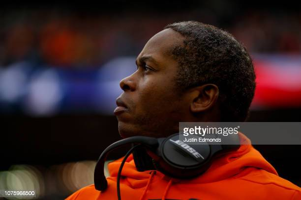 Head coach Vance Joseph of the Denver Broncos looks on during the national anthem before a game against the Los Angeles Chargers at Broncos Stadium...
