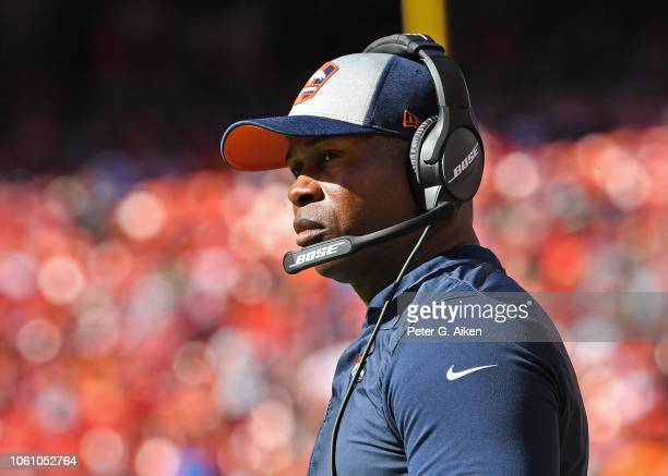 Head coach Vance Joseph of the Denver Broncos looks on from the sideline during the second half against the Kansas City Chiefs on October 28 2018 at...