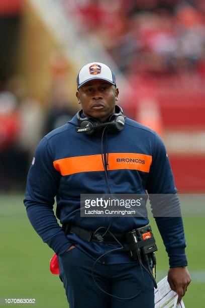 Head coach Vance Joseph of the Denver Broncos looks on from the sidelines during the game against the San Francisco 49ers at Levi's Stadium on...