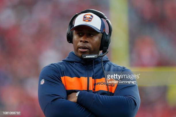 Head coach Vance Joseph of the Denver Broncos looks on from the sideline during the game against the San Francisco 49ers at Levi's Stadium on...