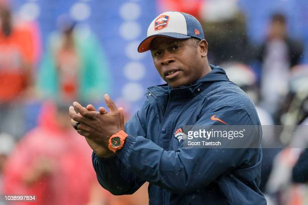 Head coach Vance Joseph of the Denver Broncos on the field before the game against the Baltimore Ravens at MT Bank Stadium on September 23 2018 in...