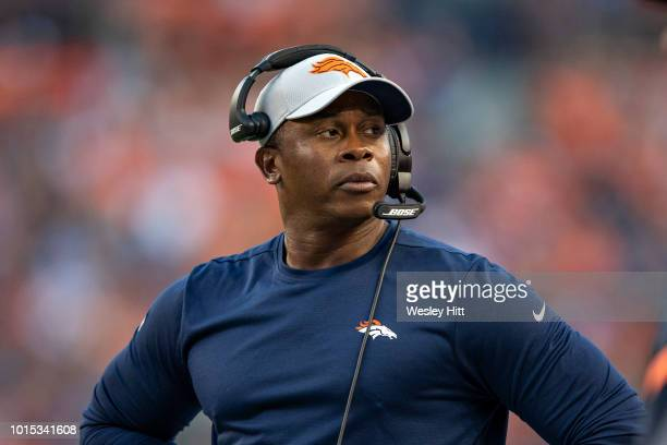 Head Coach Vance Joseph of the Denver Broncos on the sidelines during preseason game week 1 against the Minnesota Vikings at Broncos Stadium at Mile...