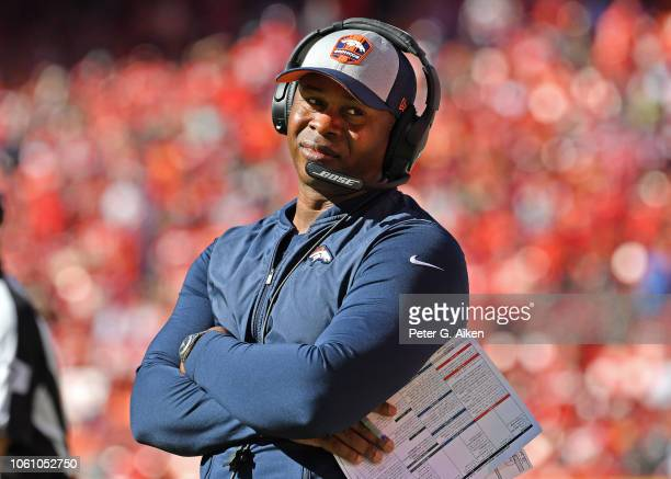 Head coach Vance Joseph of the Denver Broncos reacts after a penalty call against the Broncos during the second half against the Kansas City Chiefs...
