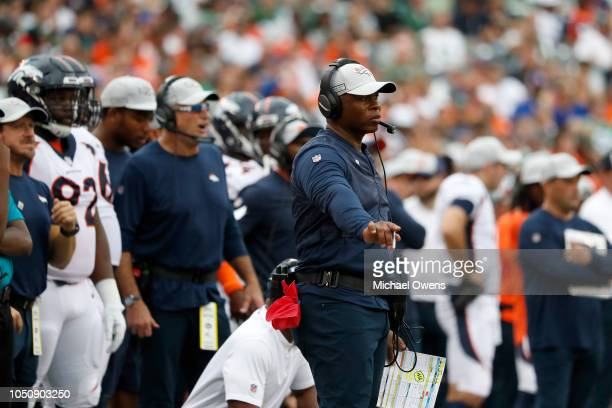 Head coach Vance Joseph of the Denver Broncos reacts against the New York Jets during the second half in the game at MetLife Stadium on October 07...