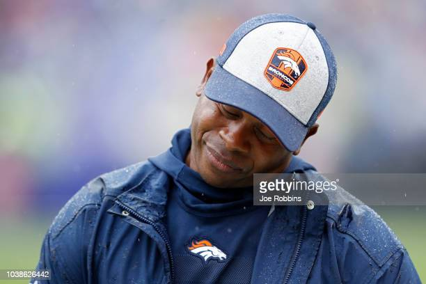 Head coach Vance Joseph of the Denver Broncos reacts in the first half of the game against the Baltimore Ravens at MT Bank Stadium on September 23...