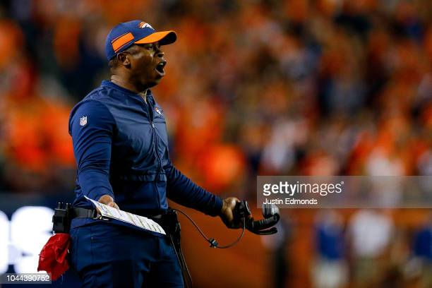 Head coach Vance Joseph of the Denver Broncos reacts to a referee in the second half of a game against the Kansas City Chiefs at Broncos Stadium at...