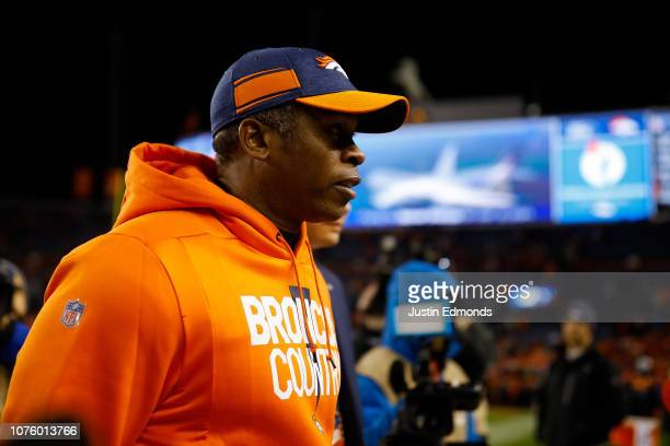 Head coach Vance Joseph of the Denver Broncos walks off the field after a 239 loss against the Los Angeles Chargers at Broncos Stadium at Mile High...
