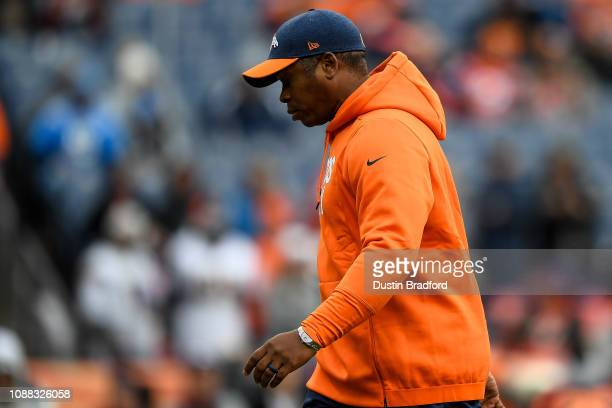 Head coach Vance Joseph of the Denver Broncos walks on the field before a game against the Los Angeles Chargers at Broncos Stadium at Mile High on...