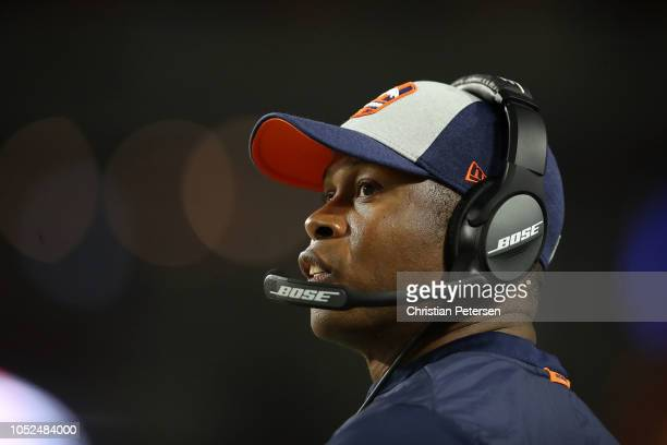 Head coach Vance Joseph of the Denver Broncos watches the action during the first half against the Arizona Cardinals at State Farm Stadium on October...