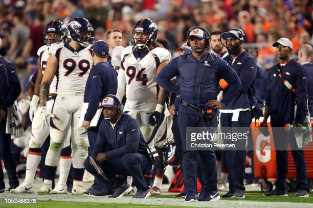 Head coach Vance Joseph of the Denver Broncos watches the action during the third quarter against the Arizona Cardinals at State Farm Stadium on...