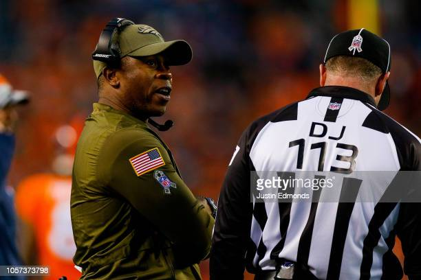 Head coach Vance Joseph of the Denver Broncos works on the sideline during the second half of a game against the Houston Texans at Broncos Stadium at...
