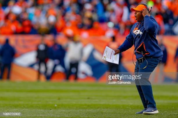 Head coach Vance Joseph of the Denver Broncos works on the sideline during the second quarter of a game against the Pittsburgh Steelers at Broncos...