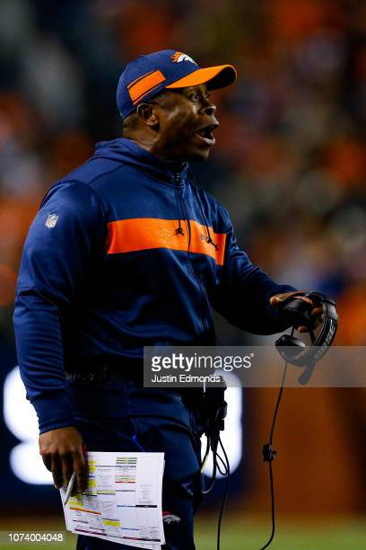 Head coach Vance Joseph of the Denver Broncos works on the sideline in the second quarter of a game against the Cleveland Browns at Broncos Stadium...