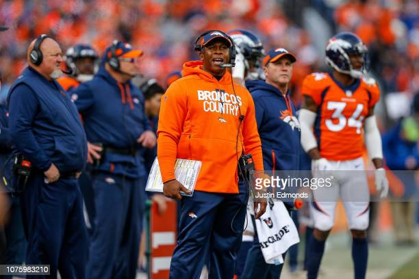 Head coach Vance Joseph of the Denver Broncos works on the sideline int he first half of a game against the Los Angeles Chargers at Broncos Stadium...