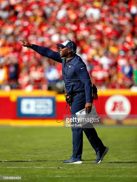 Head coach Vance Joseph of the Denver Broncos yells from the sidelines during the game against the Kansas City Chiefs at Arrowhead Stadium on October...