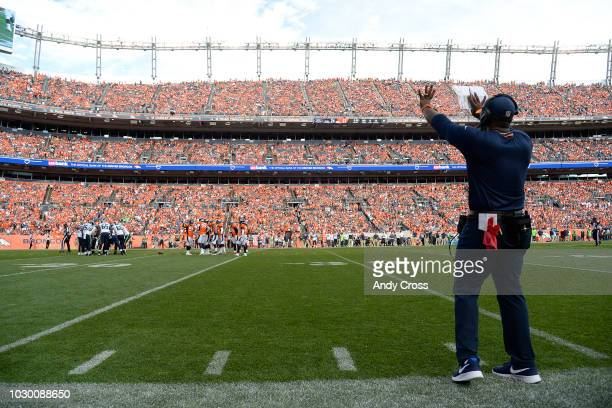 Head coach Vance Joseph of the Denver Broncos yells to players during the fourth quarter against the Seattle Seahawks The Denver Broncos won 2724 The...