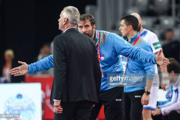 Head coach Veselin Vujovic of Slovenia argues during the Men's Handball European Championship Group C match between Slovenia and Germany at Arena...