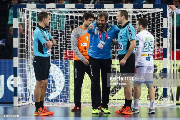 Head coach Veselin Vujovic of Slovenia argues with a referees during the Men's Handball European Championship Group C match between Slovenia and...