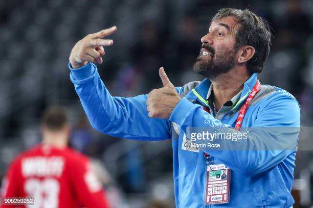 Head coach Veselin Vujovic of Slovenia reacts during the Men's Handball European Championship Group C match between Slovenia and Germany at Arena...